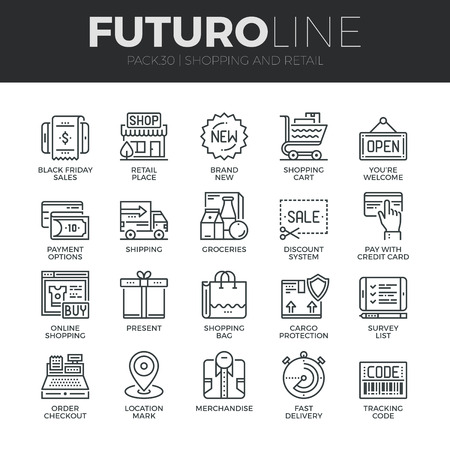 インター ネット ショッピング ・小売店・ オンライン販売のモダンな細い線のアイコンを設定します。プレミアム品質のアウトライン シンボルのコ