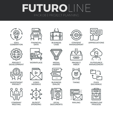 Modern thin line icons set of project planning and business workflow development. Premium quality outline symbol collection. Simple mono linear pictogram pack. Stroke vector concept for web graphics.
