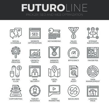 현대 얇은 라인 아이콘 성장 트래픽에 대한 검색 엔진 최적화 도구의 집합입니다. 프리미엄 품질 개요 기호 컬렉션입니다. 간단한 모노 선형 그림 팩.