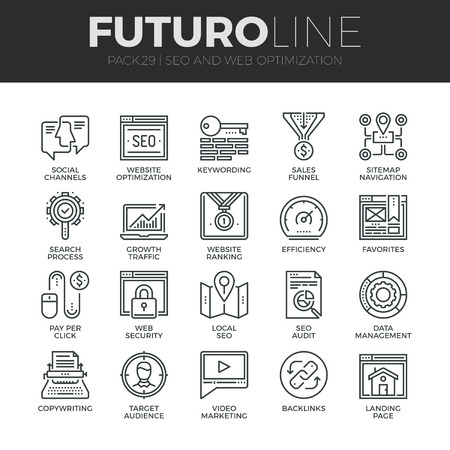content management: Modern thin line icons set of search engine optimization tools for growth traffic. Premium quality outline symbol collection. Simple mono linear pictogram pack. Stroke vector concept for web graphics. Illustration
