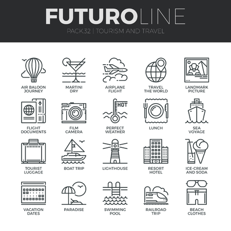 Modern thin line icons set of tourism travel transportation, trip to resort hotel. Premium quality outline symbol collection. Simple mono linear pictogram pack. Stroke vector icon concept for web graphics. Ilustração