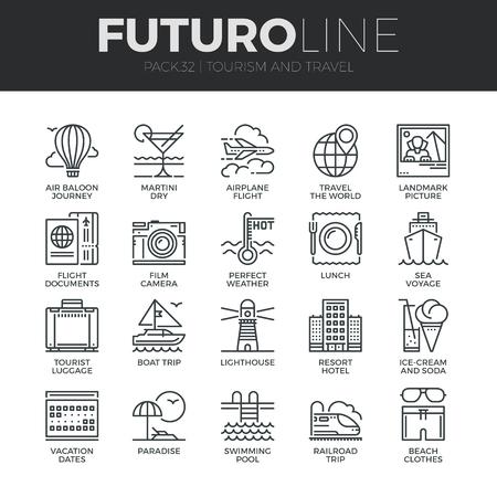 Moderne dunne lijn iconen set van toerisme reizen vervoer, reis naar resorthotel. Premium kwaliteit overzicht symboolcollectie. Eenvoudig mono lineair pictogrampakket. Lijn vector pictogram concept voor webafbeeldingen.