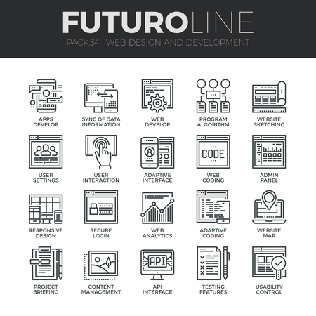 algorithm: Modern thin line icons set of adaptive website customization, web develop process. Premium quality outline symbol collection. Simple mono linear pictogram pack. Stroke vector logo concept for web graphics.