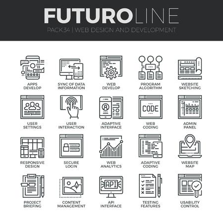 Modernos iconos de línea delgada de la página web personalización adaptativo, web desarrollan proceso. Calidad de captación símbolo del esquema Premium. Paquete pictograma mono lineal simple. Trazo Vector logo concepto para gráficos web. Vectores
