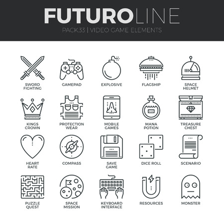 Modern thin line icons set of classic game objects, mobile gaming elements. Premium quality outline symbol collection. Simple mono linear pictogram pack. Stroke vector icon concept for web graphics. Imagens - 48709827