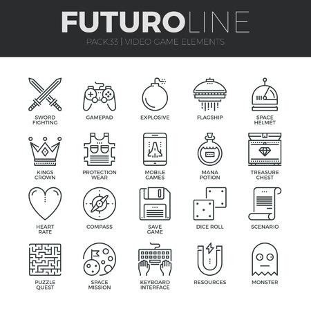 Moderne dunne lijn iconen set van klassieke spel objecten, mobiele gaming elementen. Premium kwaliteit schets symbool collectie. Eenvoudige mono lineaire pictogram verpakking. Beroerte vector icoon concept voor web graphics. Stock Illustratie