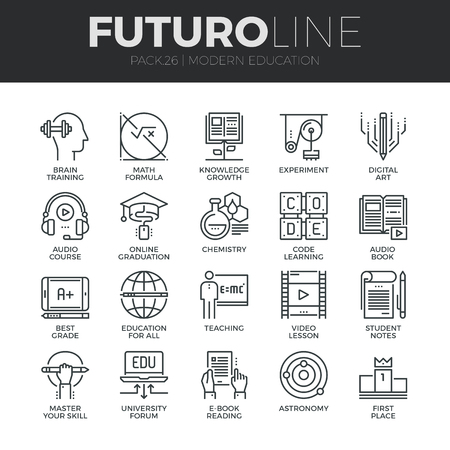 Modern thin line icons set of online education class and internet course study. Premium quality outline symbol collection. Simple mono linear pictogram pack. Stroke vector icon concept for web graphics.