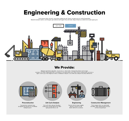 Una página de la plantilla de diseño web con iconos de líneas delgadas de servicio de la construcción inmobiliaria, la construcción de la arquitectura con la solución de ingeniería. Diseño plano gráfico héroe concepto de imagen, diseño de elementos del sitio web.
