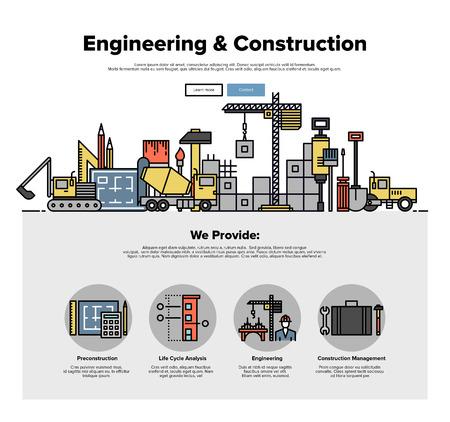 anuncio publicitario: Una página de la plantilla de diseño web con iconos de líneas delgadas de servicio de la construcción inmobiliaria, la construcción de la arquitectura con la solución de ingeniería. Diseño plano gráfico héroe concepto de imagen, diseño de elementos del sitio web.
