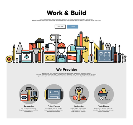 One page web design template with thin line icons of engineering work tools, building equipment objects, professional repairing service. Flat design graphic hero image concept, website elements layout.