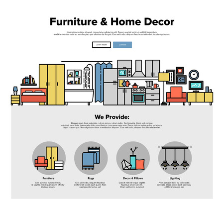 home furniture: One page web design template with thin line icons of home interior decoration, living room improvement, furniture and decor for house. Flat design graphic hero image concept, website elements layout.