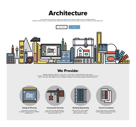 건축 엔지니어링 건설, 3D 건물 계획, 노동자 수리 도구의 얇은 선 아이콘 한 페이지 웹 디자인 템플릿입니다. 플랫 디자인 그래픽 영웅 이미지 개념, 웹