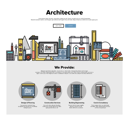 One page web design template with thin line icons of architecture engineering construction, 3D building planning, worker repair tools. Flat design graphic hero image concept, website elements layout.