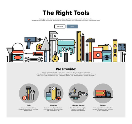 Un modèle de page web design avec des icônes d'outils de réparation magasin en ligne mince, construire des instruments pour l'ouvrier, la peinture et l'équipement de rénovation. Design plat héros graphique image concept, des éléments du site mise en page. Illustration