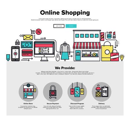 Una página de la plantilla de diseño web con iconos delgada línea de proceso de compras en línea, internet mercader mercado, la entrega de pedidos de clientes. Diseño plano héroe gráfico concepto de imagen, diseño de elementos del sitio web. Ilustración de vector