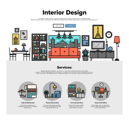 Um modelo de página web design com ícones fina linha de decoração de imóveis comerciais, interior imobiliário melhorar, apartamento habitação. Design plano herói gráfico conceito de imagem, layout de elementos do site.