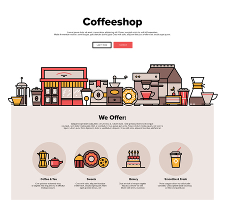 coffee to go: One page web design template with thin line icons of local coffeeshop exterior, coffee cafe with sweets retail service, hipster bakery. Flat design graphic hero image concept, website elements layout.