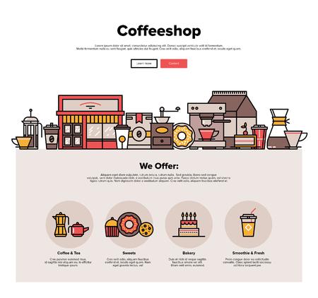 negozio: Un modello di pagina web design con linee sottili icone di esterno coffeeshop locale, caffè bar con servizio di dolci di vendita al dettaglio, pantaloni a vita bassa da forno. Design piatto grafica eroe concetto di immagine, elementi del sito web layout. Vettoriali