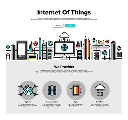 Eine Seite Web-Design-Vorlage mit dünnen Linie Ikonen des Internet der Dinge Datentechnik, Netzwerkinfrastruktur von allem zu verbinden. Flaches Design Grafik Held Bild Konzept, Elemente der Website-Layout.