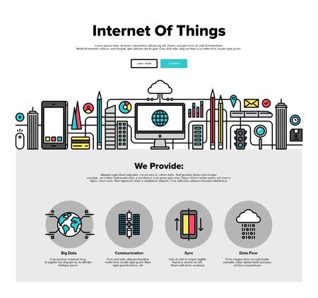umÃ? ní: Una página de la plantilla de diseño web con iconos de líneas delgadas de Internet de la tecnología de datos cosas, la infraestructura de red de la conexión de todo. Diseño plano gráfico héroe concepto de imagen, diseño de elementos del sitio web. Vectores