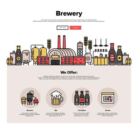 Jedna stránka web design šablony s tenkou čarou ikonami Rodinný pivovar tovární výroby, pivovarnictví proces, tradiční pivní ruční práce. Ploché výprava kreslený hrdina pojetí obrazu, rozvržení webové stránky prvky.