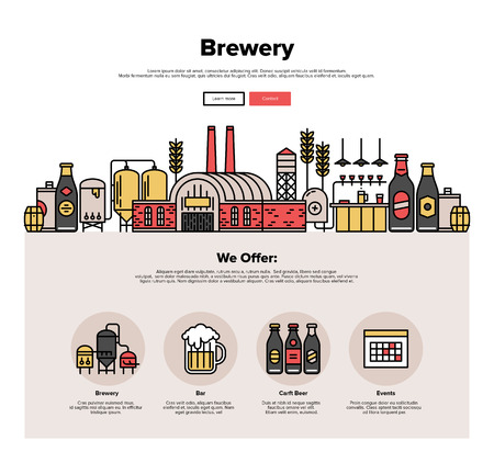 production line: One page web design template with thin line icons of family brewery factory production, beer brewing process, traditional beer crafting. Flat design graphic hero image concept, website elements layout.