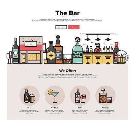 지역의 바 카운터, 작은 마을의 술집 건물, 안경 다양한 알코올 병의 얇은 선 아이콘 한 페이지 웹 디자인 템플릿입니다. 플랫 디자인 그래픽 영웅 이미 일러스트