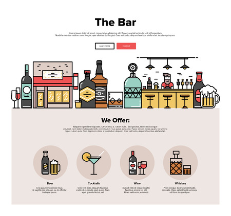 bar counter: One page web design template with thin line icons of local bar counter, small town pub building, various alcohol bottles with glasses. Flat design graphic hero image concept, website elements layout.