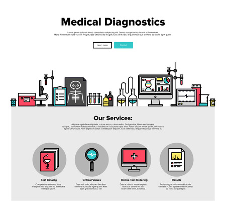 clinics: One page web design template with thin line icons of medical diagnostics of patient in hospital, future medicine research laboratory. Flat design graphic hero image concept, website elements layout.