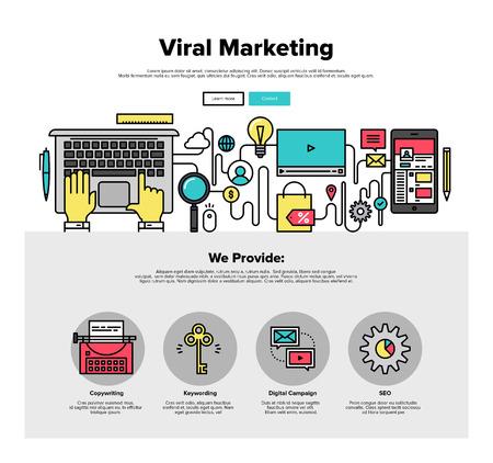 Een pagina Web Design sjabloon met dunne lijn iconen van virale media productie, digitale marketing service, sociaal engagement voor het bedrijfsleven. Platte ontwerp grafische afbeelding held concept, website elementen lay-out Stock Illustratie