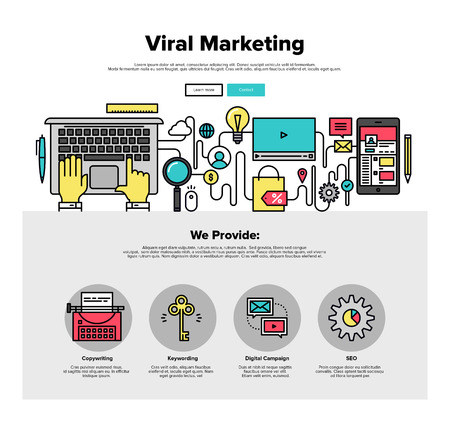 info graphic: One page web design template with thin line icons of viral media production, digital marketing service, social engagement for business. Flat design graphic hero image concept, website elements layout