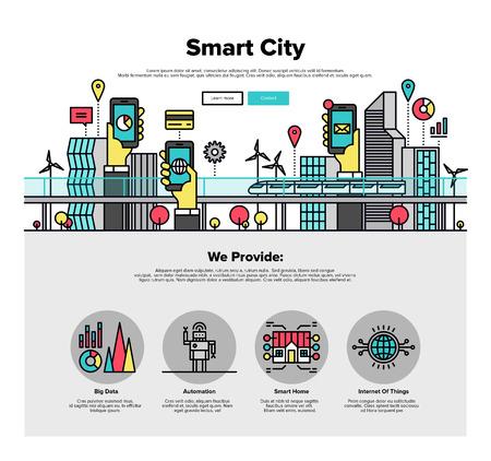 Una página de la plantilla de diseño web con iconos de líneas delgadas de ciudad inteligente y conexión a internet de las cosas y todo, la tecnología del futuro para la vida. Diseño plano gráfico héroe concepto de imagen, diseño de elementos del sitio web.