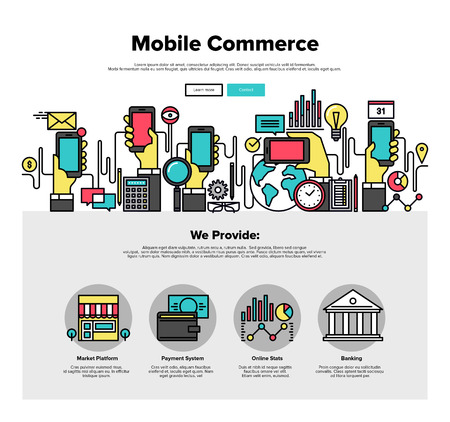 smartphone apps: One page web design template with thin line icons of mobile business commerce, smartphone apps for shopping online, internet payments. Flat design graphic hero image concept, website elements layout.