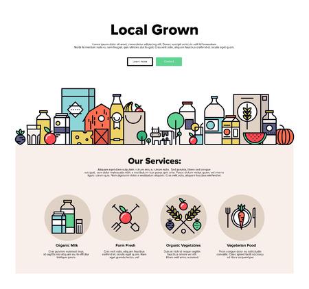 Una página de la plantilla de diseño web con iconos de líneas finas de granja verduras cultivadas locales, los alimentos orgánicos naturales, eco amigables productos de temporada. Diseño plano héroe gráfico concepto de imagen, diseño de elementos del sitio web.