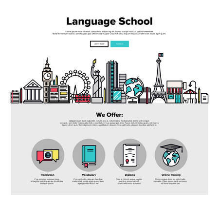 in english: One page web design template with thin line icons of language school training program, study foreign language abroad, internet lessons. Flat design graphic hero image concept, website elements layout.