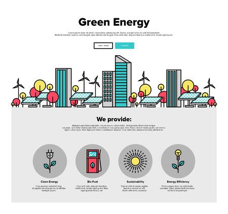 도시 환경 친화적 인 녹색 에너지, 태양 전지 패널과 태양 전원 개발의 얇은 라인 아이콘 하나의 페이지 웹 디자인 템플릿. 평면 디자인 그래픽 영웅 이