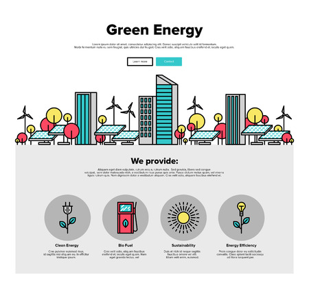 source: One page web design template with thin line icons of city environmentally friendly green energy, sun power development with solar panels. Flat design graphic hero image concept, website elements layout.