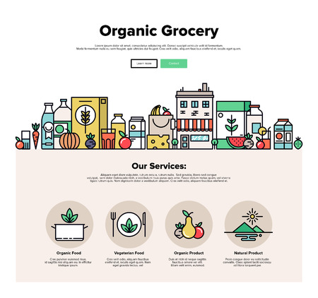 food and beverages: One page web design template with thin line icons of organic food and fresh natural products, small city store with vegetarian groceries. Flat design graphic hero image concept, website elements layout.