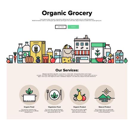 Una página de la plantilla de diseño web con iconos delgada línea de alimentos orgánicos y productos frescos y naturales, pequeña tienda de la ciudad con alimentos vegetarianos. Diseño plano héroe gráfico concepto de imagen, diseño de elementos del sitio web.