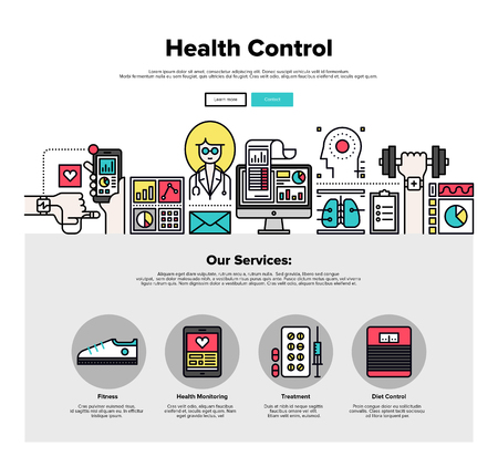 diagnosis: One page web design template with thin line icons of mobile health control technology, mHealth doctor app, digital medicine healthcare. Flat design graphic hero image concept, website elements layout.