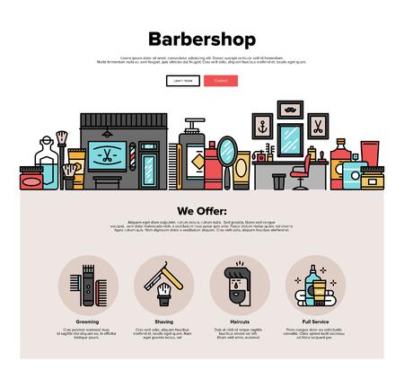 이발소 살롱 인테리어, 힙 스터 이발 서비스, 면도 이발사 액세서리의 얇은 선 아이콘 한 페이지 웹 디자인 템플릿입니다. 플랫 디자인 그래픽 영웅 이