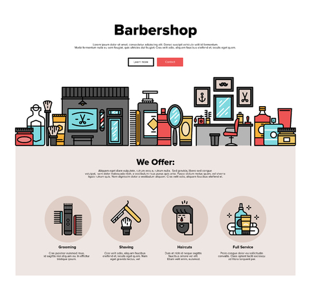 shave: One page web design template with thin line icons of barbershop salon interior, hipster haircut service, barbers accessories for shaving. Flat design graphic hero image concept, website elements layout.