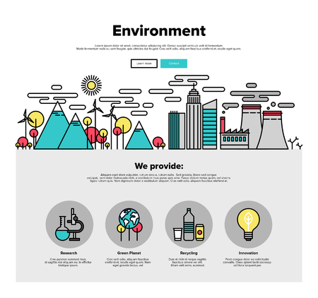 environment friendly: One page web design template with thin line icons of planet ecology environment, city environmental pollution, green earth conservation. Flat design graphic hero image concept, website elements layout.