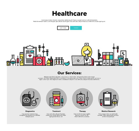 healthcare: One page web design template with thin line icons of medical laboratory with scientist doctor, healthcare research and diagnostics. Flat design graphic hero image concept, website elements layout. Illustration