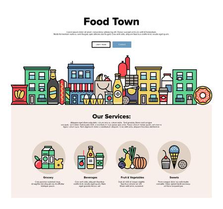 Eine Seite Web-Design-Vorlage mit dünnen Linie Ikonen der lokalen Lebensmittelgeschäften in einer kleinen Stadt, in der Stadt Fassade mit verschiedenen Lebensmitteln und Süßigkeiten. Flaches Design Grafik Held Bild Konzept, Elemente der Website-Layout. Illustration