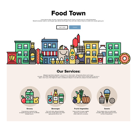 web store: One page web design template with thin line icons of local food stores in a small city, town facade with various groceries and sweets. Flat design graphic hero image concept, website elements layout. Illustration