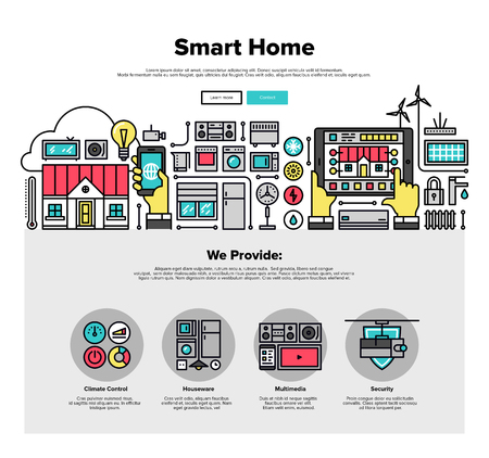 control system: One page web design template with thin line icons of smart home automation system, smart house climate control panel on mobile device. Flat design graphic hero image concept, website elements layout.