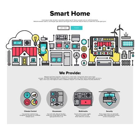 medio ambiente: Una página de la plantilla de diseño web con iconos de líneas finas de sistema domótico inteligente, panel de control de la casa climáticamente inteligente en el dispositivo móvil. Diseño plano héroe gráfico concepto de imagen, diseño de elementos del sitio web.