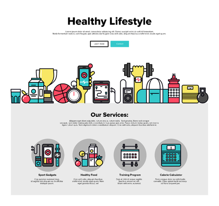 web training: One page web design template with thin line icons of healthy living lifestyle, sports gadgets, healthy food and fitness training program. Flat design graphic hero image concept, website elements layout.