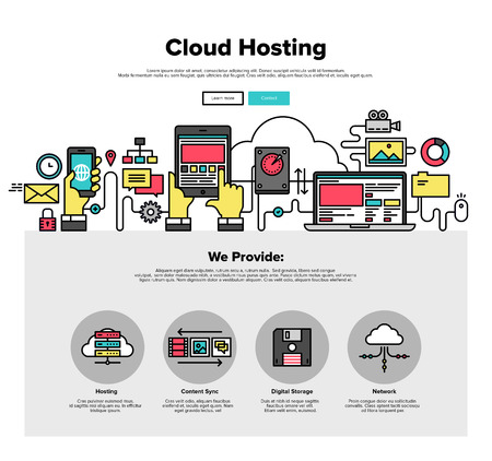 sharing information: One page web design template with thin line icons of cloud hosting provider service, network server communication, business data solution. Flat design graphic hero image concept, website elements layout. Illustration